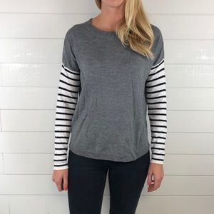 French Connection Stripe Sleeve Gray Body Sweater